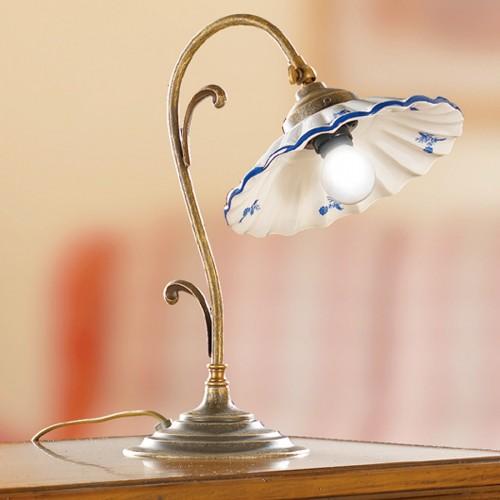 Stolní lampa rustikální 2211.L - modrý dekor