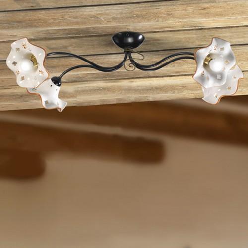 Stropní rustikální svítidlo 2215.4M - hnědý dekor