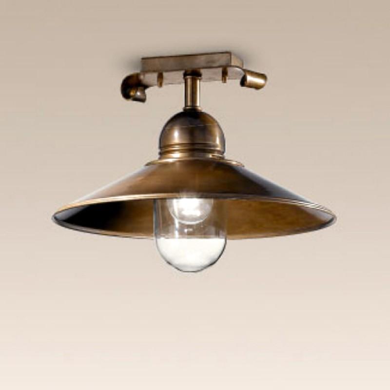 Stropní rustikální svítidlo 435/1PL-BR-CON-TR - čiré sklo