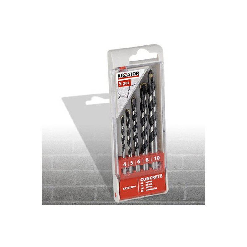 Sada vrtáků do betonu KRT012401, Ø 4 - 10mm, 5 kusů