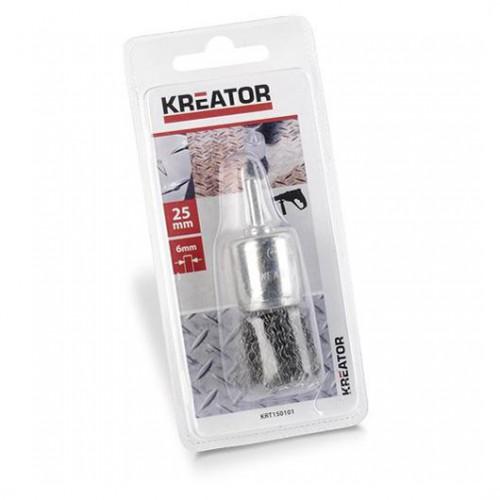 Brusný kartáč ocelový na stopce Kreator KRT150101, průměr 25mm