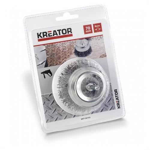 Brusný kartáč ocelový na stopce Kreator KRT150103, průměr 70mm