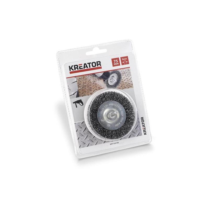 Brusný kartáč ocelový na stopce Kreator KRT150108, průměr 75mm