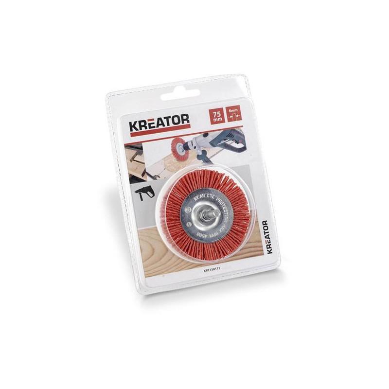 Brusný kartáč nylonový na stopce Kreator KRT150111, průměr 75mm