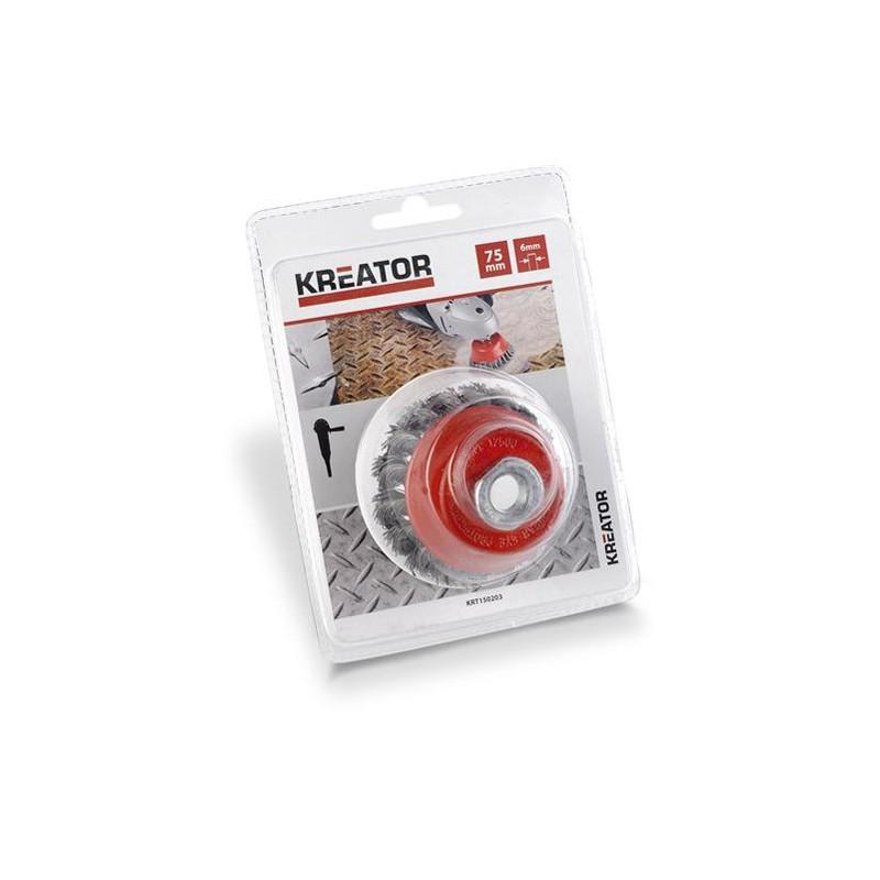Brusný kartáč copánkový se závitem Kreator KRT150203, průměr 75mm