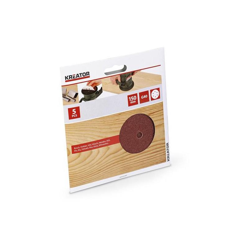 Sada brusných papírů na dřevo do excentrických brusek 150mm, KRT231003, G40